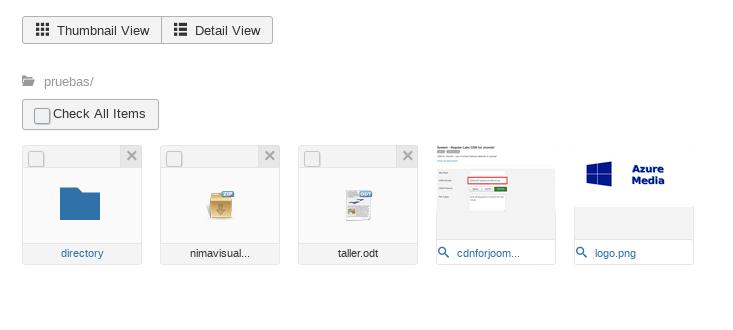 Thumbnails view - Azure Media